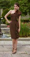 Wholesale One Shoulder Ronald Joyce - Long Bridesmaids Dresses Brown Chiffon Bridesmaid Dresses 2016 One Shoulder Backless Sleeveless Knee Length Ronald Joyce 29940
