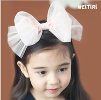 Wholesale Korean Hair Accessories Bow Fashion - Toddler Lace Bow Headbands 2018 Babies Princess tulle Hair Stick Kids Girls Korean Fashion Hair Accessories