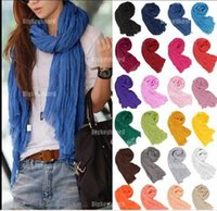 Wholesale Scarfs For Cheap - cheap scarves Hot promotion new pure linen fold super long big shawl women fashion multicolor punk scarf scarves wraps jewelry for women