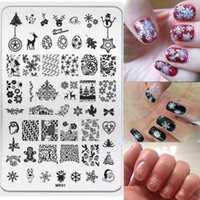 Wholesale Steel Art Stamp - 3pcs New Stainless Steel Rectangle Manicure Template Nail Art Printing Polish Stamp Image Plate Christmas Elements Pattern