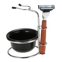 Wholesale Soap Dryer - Men Beard Shaving Kit 3 In 1 Shaving Razor Set Male Facial Clean Tools Razor Holder Shaving Soap Bowl for Dry or Wet Shaving W1788