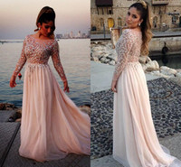 Wholesale Long Sleeve Designer Dress Saab - Elie Saab Designer Crystal Beaded Prom Dresses Sheer Bateau Neck Long Sleeves A-Line Chapel Train Chiffon Evening Gowns Celebrity Dress