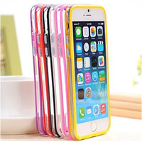 Wholesale Iphone 5c Metal Bumper - HOT TPU Bumper Frame Metal Button Case Cover for iphone 6 6+ 6 PLUS 5 5S 5C 4 4S in Retail package