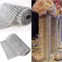 Wholesale Wedding Cake Bling Decorations - 24rows 4.5inch 3Y Bling Ribbon Warp Wedding Floral Decoration Diamond Rhinstone Ribbon Mesh Up Wediing Home Decoration Supplies