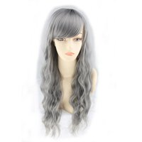 Wholesale Curly Synthetic Hair Wigs - WoodFestival Grandmother grey wig long synthetic fiber wig women kinky curly wigs bangs natural cheap hair wigs wavy 70cm 28 inch
