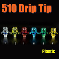 Wholesale Plastic Minions - Plastic 510 Drip Tips Colorful Wide Bore Transparent Cute Minions Mouthpieces Fit Big Dripper V1 Steam Turbine Atomizer Hot Sale FJ621