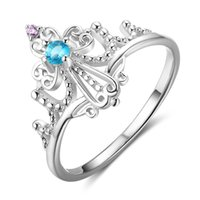Wholesale Turquoise Wedding Rings Women - Fashion Princess Crown Pandora Rings 925 Sterling Silver Wedding Engagement Rings Amethyst Turquoise CZ Diamonds Rings For Women