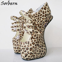 Wholesale Women Leopard Pink Heels - Plus Size Wild Leopard PVC Women Pumps 18cm High Heels Large Size Unisex Female Pump Shoes Women Sapato Feminino Ballet Heels Fetish Shoes