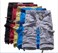 Wholesale Capri Pants For Men - free shipping Hot Selling Capri pants candy color Knee Length Beach Shorts Men Summer Cargo Shorts For Men (No Belt)