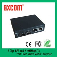 Wholesale 2 Giga SFP and Mbps Tx Port Fiber switch Media Converter transmission stability superior performance