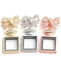 Wholesale Bow Glasses Frame - Bow Floating Locket Hot Sale DIY Transparent Glass Frames Floating Charms Memory Lockets Pendants Brooches Pins Jewelry Wholesale 0057KLF