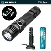Wholesale Olight Tactical Flashlight - Olight S30R Baton 1000 Lumens Cree XM-L2 Rechargeable Flashlight 5 Modes+3600mAh 3.7V 18650 Li-battery+Charging Dock+USB Cable.