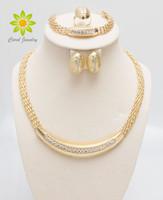grands ensembles de bijoux achat en gros de-Livraison Gratuite Or 24K Rempli Populaire Collier Boucles D'oreilles Bracelet Bague Africaine De Mode Femmes Grand Bijoux Ensembles