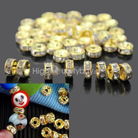 50Pcs 6mm Crystal Rhinestones Golden Tone Spacers Loose Beads Shining Jewelry