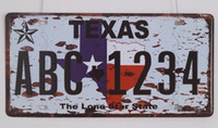 "оловянные знаки бесплатная доставка оптовых-Wholesale- Free shipping NEW Vintage Metal tin signs RONEXH-004 TEXAS AB6.1234 "" License Plates Wall art craft home decor 15x30cm"