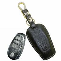 vw araba uzaktan toptan satış-2015 Yeni deri volkswagen vw Touareg için araba anahtarlık kapak tutucu 2013 2014 araba Anahtarı deri cüzdan anahtarlık yüzük uzaktan aksesuarları
