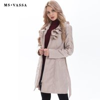 All'ingrosso-New Spring Women cappotto moda trench plus size cintura regolabile in vita alla moda sottile memoria falso increspato colletto tuta sportiva