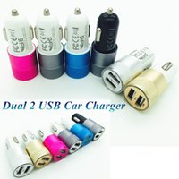 Wholesale Led Lights For Car Alloys - Metal Alloy Dual USB Car Charger LED Light 5V 3.1A 2-Ports Sync Charging Adapter Bullet Universal for iphone6 plus Samsung S6 HTC