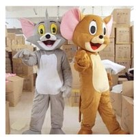 ratón de dibujos animados al por mayor-Envío gratis Tom Cat y Jerry Mouse Mascota Disfraz Traje Chirstmas traje de tamaño adulto de la historieta