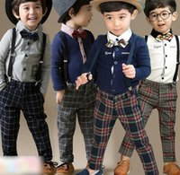 Wholesale Kids Shirt Tie - Boys Clothes Kids Outfits 2015 Spring Page Boy Sets Formal Attire Bow Tie Long Sleeve Shirt Shirts Plaid Overalls Brace Pants I2791