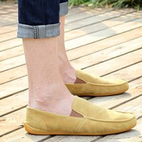 Wholesale Soft Sole Casual Leather Shoes - Mens Slip-On Loafers Shoes Pure Color Suede Gommino Shoes Men Soft Comfortable Flat Sole Casual Driving Shoes Man 39-44 H146