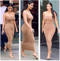 kim kardashian gündelik elbiseler toptan satış-2015 yaz kadın seksi straplez uzun elbise bandaj bodycon Kim Kardashian Ünlü gündelik Elbise