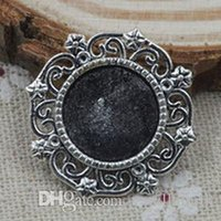 Wholesale Antique Round Blank - Wholesale-50pc lot 14mm Round Vintage Carving Pendant Cameo Cabochon Base Settings DIY Jewelry Findings Antique Silver Blank Tray Y82