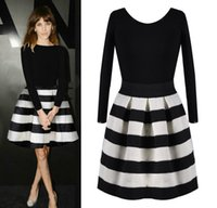 Wholesale Black White Striped Mini Dress - dongguan_wholesale new Autumn and winter fashion cute sweet black and white stripe patchwork women's one-piece dress