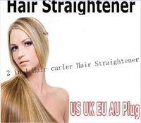 Wholesale Dhl Hair Straightening - Hair Straightener Iron Brush Ceramic 2 In 1 Hair Straightening Curling Irons Hair Curler EU US Plug free dhl Send in 24 hours