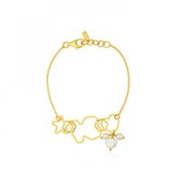 Wholesale Freshwater Lobsters - Fashion New stainless steel Jewelry Freshwater pearl bracelet hollow flower bears stars hearts women gold chain bracelet