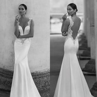 Wholesale Nurit Hen - Sexy 2016 Nurit Hen Sheer Neck Illusion Back Mermaid Wedding Dresses Modest Satin Fitted Beaded Sweep Train Bridal Gowns Custom Made EN3185