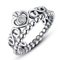anéis estilo coroa venda por atacado-Mulheres anéis de prata coroa de prata jóias de prata se encaixa para o estilo de pandora para senhoras menina marca anéis frete grátis