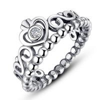 diamante de anel simples venda por atacado-Mulheres anéis de prata coroa de prata jóias de prata se encaixa para o estilo de pandora para senhoras menina marca anéis frete grátis