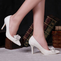 Wholesale ivory high heels bow - Pointed Toe Pearl Shoes Bridal Wedding Shoes Ivory Color Thin High Heel 3 Inches Handmade Formal Dress Shoes Prom Party Pumps