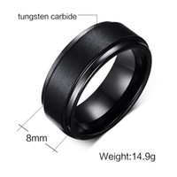 Wholesale mens comfort fit ring - Wedding Ring 8mm Classic Comfort Fit Mens Black Tungsten Carbide Wedding Band Ring Hot Sale Ring in USA and Europe