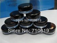 ingrosso contenitori di plastica neri di trasporto-Spedizione veloce - 2500 / lotto bianco, vasetto per crema nero, contenitore per cosmetici, bottiglia di plastica, flacone per esposizione, vasetto per campioni, confezione cosmetica
