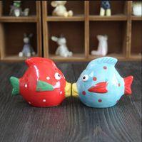 Wholesale Ceramic Fish Pot - Wholesale-Love fish, flavor pot set, ceramic kiss fish 2pcs set,Mediterranean style decoration Creative kitchen supplies