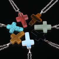 Wholesale natural gemstone crosses - Daily Deals Fashion Stainless Steel Chain Quartz Chakra Natural Stone Gemstone Rock Crystal Cross Charm statement Pendant Necklace For Women
