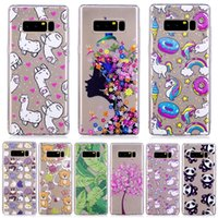 Flor de la manera Sexy Girl Girl Soft TPU para Galaxy Note 8 S8 Plus (J7 J5 J3) 2016, (A3 A5) 2017 Unicorn Donuts Panda Cartoon Cake Cover