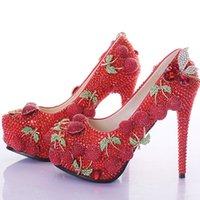 zapatos de boda de cerezo al por mayor-Wedding Prom Party Shoes Red Rhinestone Cherry Design Ladies Customized Zapatos de tacón alto Nupcial Shining Banquet Dress Shoes