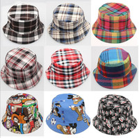 Wholesale Travel Children Baby - New Children grid hats summer sun hats baby Beach hat kids fisherman caps Travel be prepared 12 color can choose