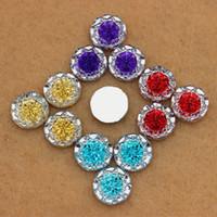Wholesale Shape Flatback - 100pcs 14mm Dual color Acrylic Crystal Round Shape flower beads flatback rhinestone for DIY decoration ZZ266