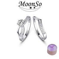 Wholesale Two Rings For Lovers - 925 Sterling Silver Wedding Rings Double Set Lovers Two Gifts CZ Diamond for Women Engagement Wholesale Jewelry Forlove Real Pure j0 R1433