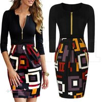 Nouveau bureau OL Work Wear Femmes Casual Dress Sexy Vintage Cocktail numérique Imprimer Colorblock Parti Bodycon Crayon Robes d'été style OXLT704