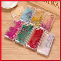 saydam sıvı glitter kasa not için toptan satış-iPhone6 iPhone5s galaksi s6 S6 kenar artı not 4 5 için Moda Şeffaf Glitter Yıldız Sıvı Telefon Case Arka kapak