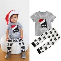 batman pantolonu toptan satış-Erkek bebek Giysileri Karikatür Batman Boys Set Çocuk Boy Noel Kıyafetleri Üstleri T gömlek + Batman Pantolon 2 ADET Boys Giysi Set Çocuk Giyim
