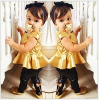 Wholesale Casual Dress Pant Legs - Baby Girls 2pcs Set 2015 Kids Gold Shirt Dress+Butterfly Legging Pants Children Clothing European&American Style Child Casual Suits Outfits
