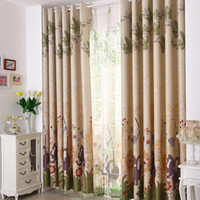 Wholesale Curtains Kid - Free shipping Eco-friendly Curtains For Kids Cartoon Curtains + Tulle  Sheer curtains 100%Blackout Curtains Double Sides Printed