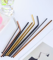 Wholesale Copper Brushes - Wholesale Stainless Steel Straw Copper Straw Reusable Straight And Bend Colorful Drinking Straw DH12(not include brush)