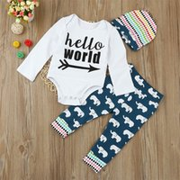 Wholesale Girls Elephant Romper - Christmas Baby Clothes Toddlers Clothing Set Infant boutique Tracksuit Caps Long Sleeve Letter Romper Elephant Pants 3PCS Outfit A7894